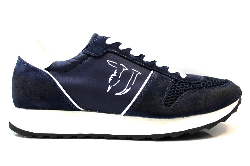 ... Trussardi Jeans 77S064 Blu e Nero Sneakers Uomo Scarpa Sportiva Casual  ... 2eb5af7e7e2