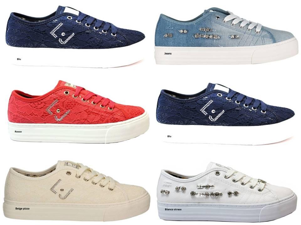 e5d1e483fe9c5 Liu Jo Girl UM22940 Blu e Rosso Sneakers Scarpe Donna Bambina ...