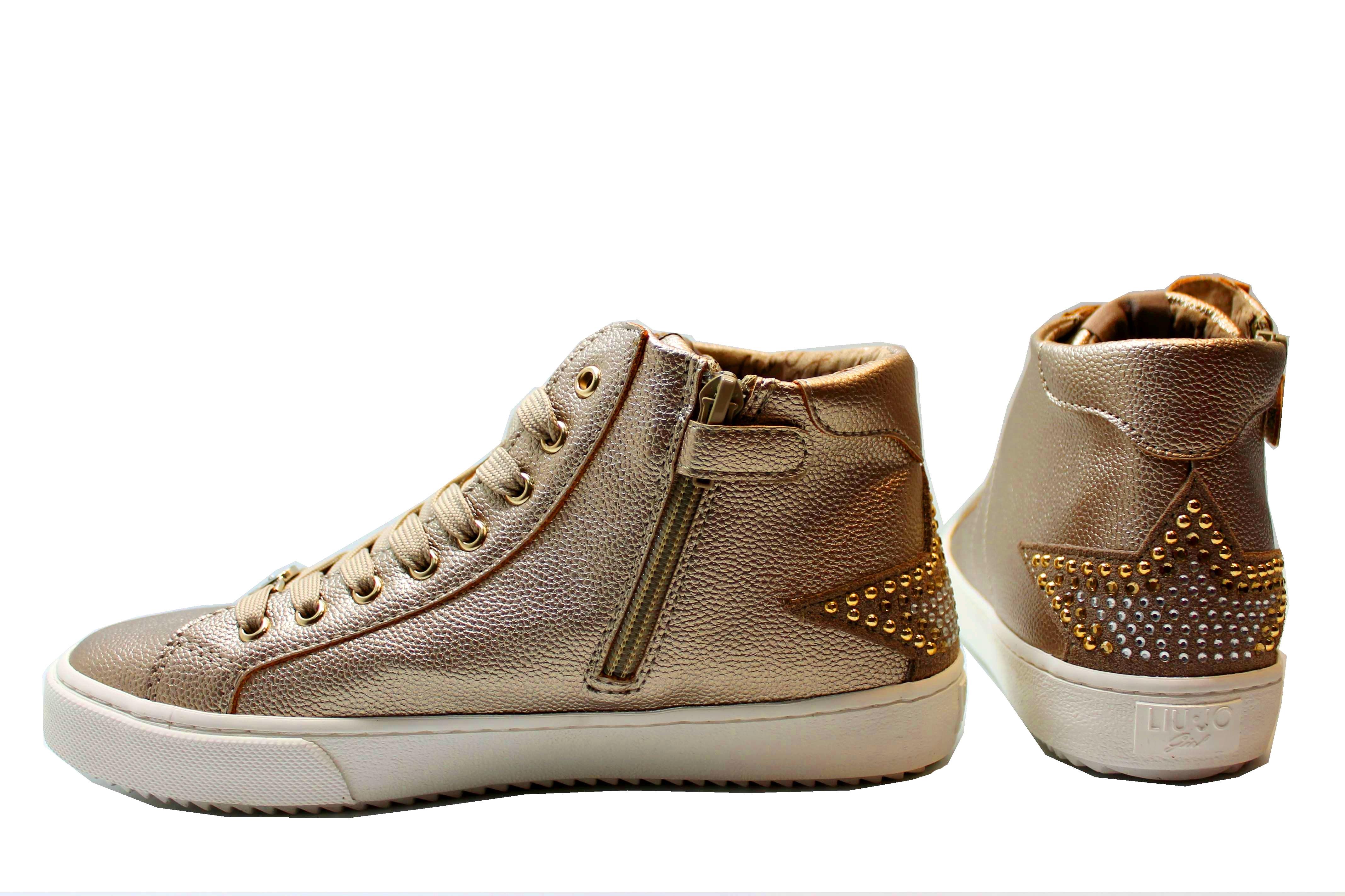 0233f287e4fcc Liu Jo Girl UM23259 Oro Sneakers Polacchine Scarpe Bambina Donna Calzature.  codice  LiuJoUM23259Oro