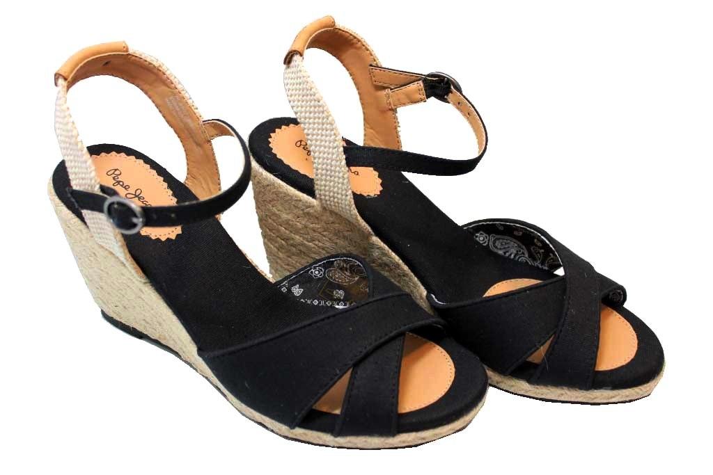 online retailer d0510 2c038 Dettagli su Pepe Jeans London PLS90238 Beige Blu e Nero Sandali con Zeppa  Donna con Plateau
