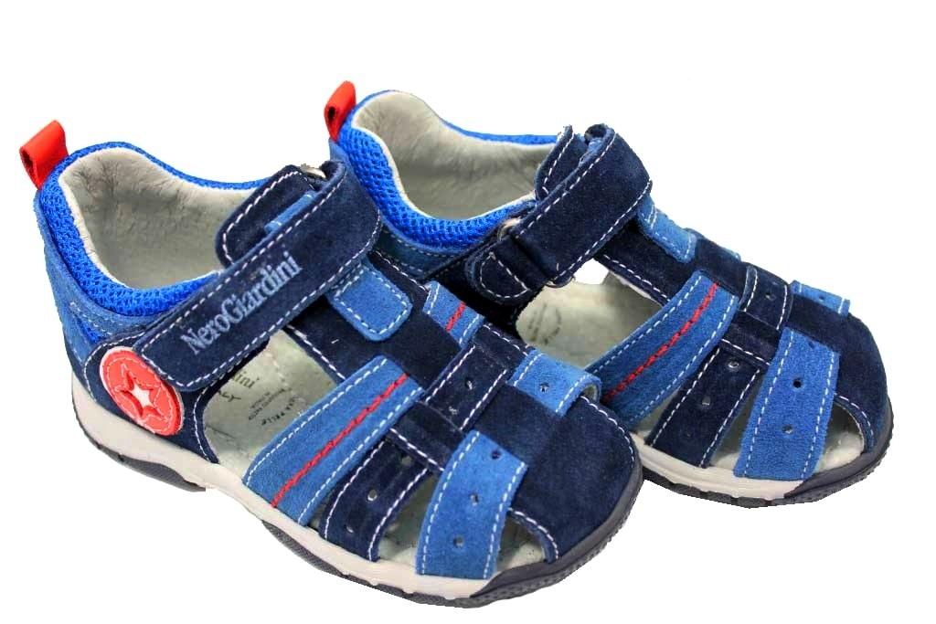 5776d5f45fe8f Nero Giardini J P823140M Blu Scarpe Sandali Bambino Chiusura con Strappo