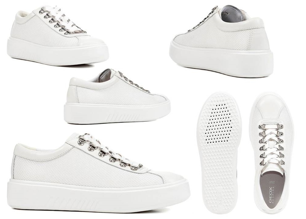 Detalles de Geox Nhenbus D828DH 01485 Blanco Zapatillas Zapatos Mujer Calzado Casual