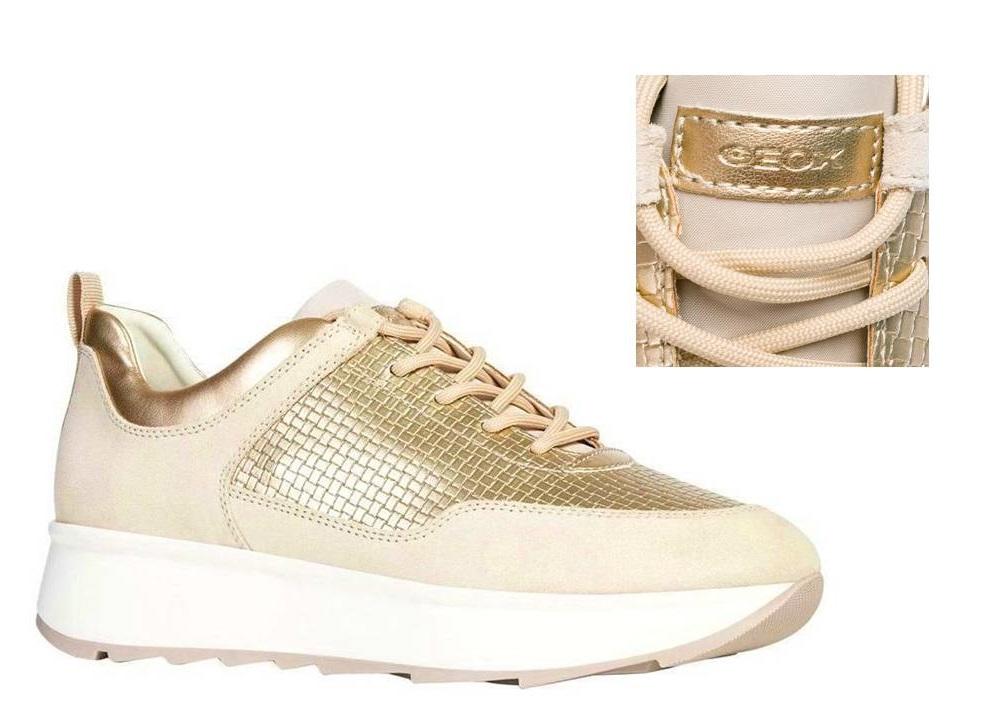 Detalles de Geox Gendry D925TB 022QU Crema Zapatillas Zapatos Mujer Calzado Casual
