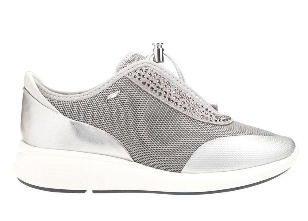 Detalles de Geox OPHIRA D621CE 0GNAJ Silver Sneakers Scarpe Donna Calzature Casual