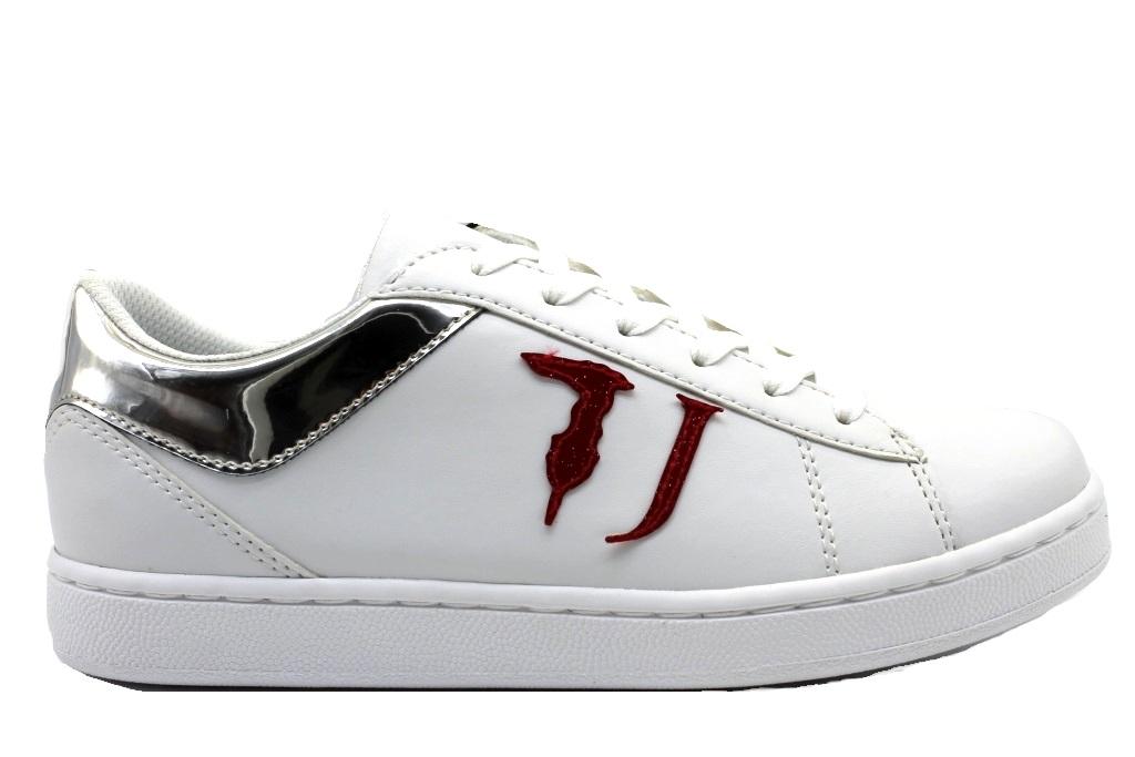 Dettagli su Trussardi Jeans 79A00387 Bianco Argento Sneakers Donna Scarpa Sportiva