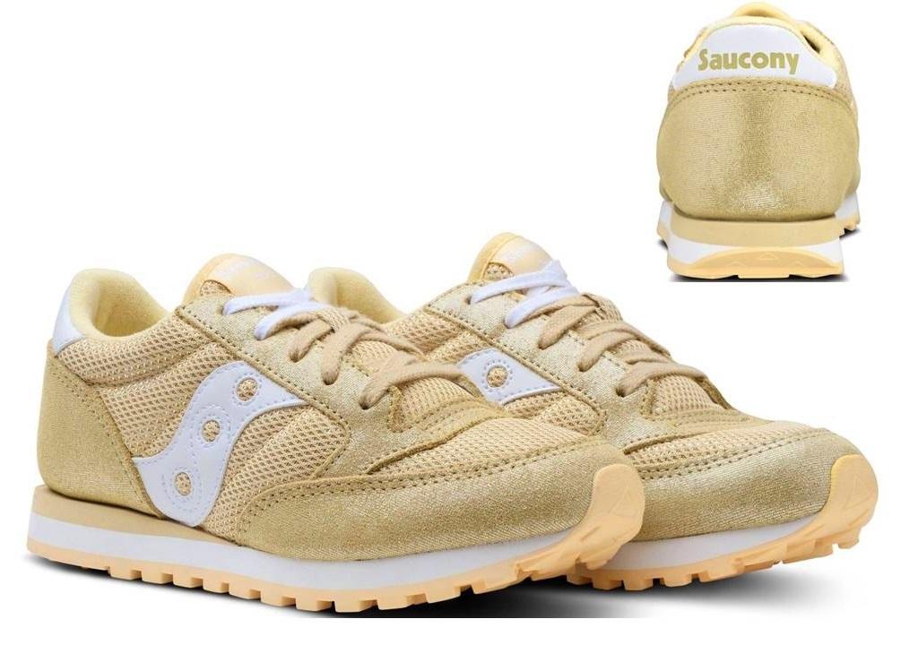 Detalles de Saucony Jazz Sk161209 Oro Mujer Zapatillas de Deporte Niños Zapatos Casual