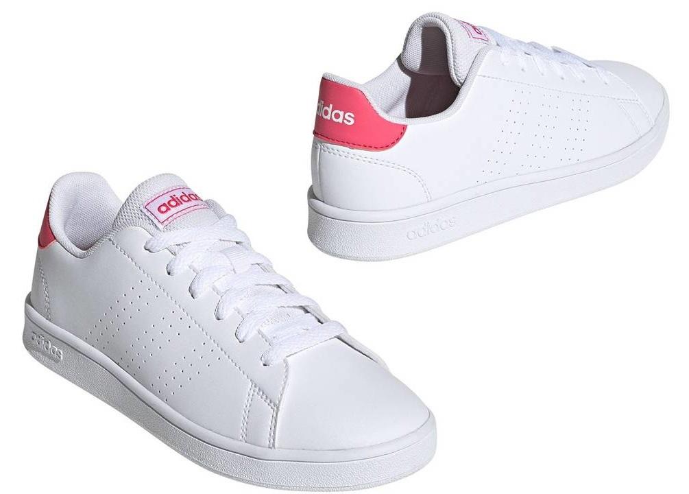 Détails sur Adidas Advantage K EF0211 Blanc Chaussures Femme Enfants Baskets Sportif