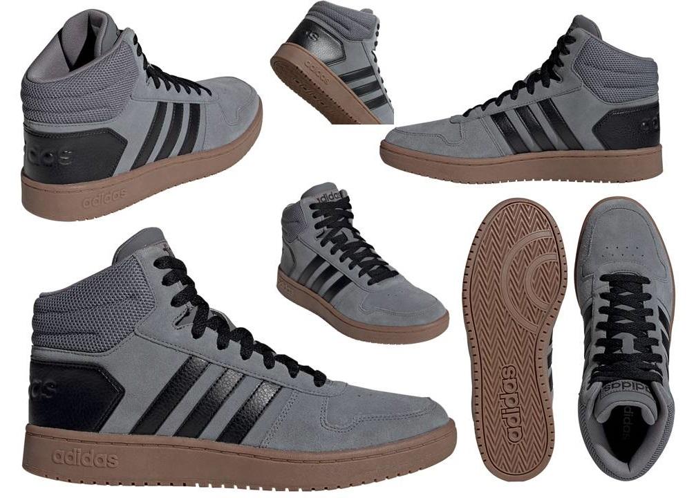 Dettagli su Adidas HOOPS 2.0 MID EE7367 Grigio Scarpe da Ginnastica Uomo Sportive