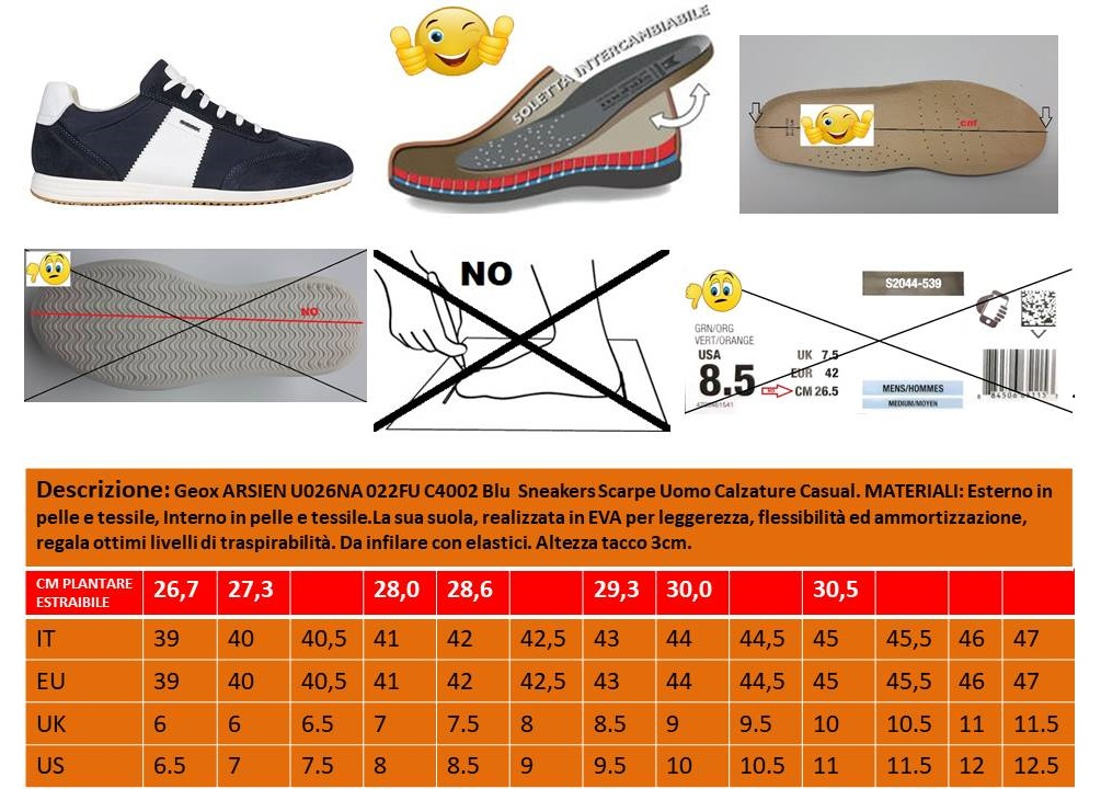 Scarpe da uomo Geox Arsien U026NA casual sportive basse sneakers estive