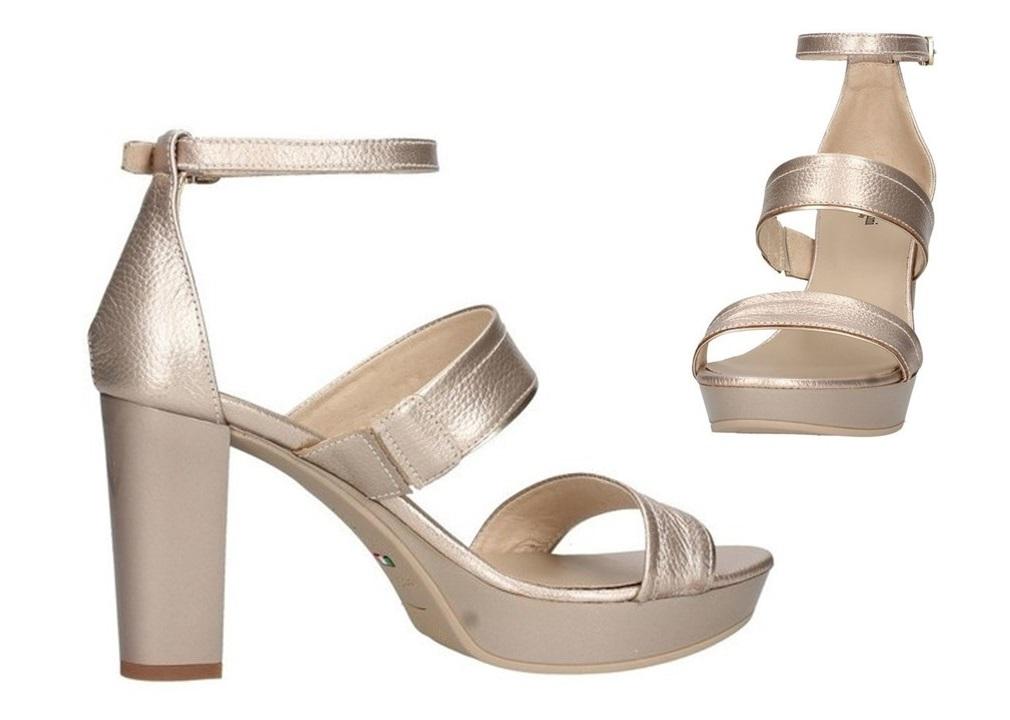 Sandali scarpe da donna Nero Giardini E012215D con tacco alto comodo in pelle