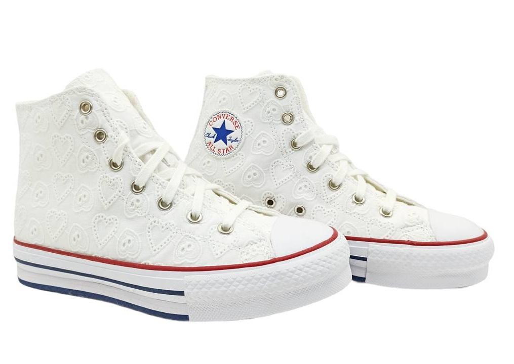 Scarpe donna Converse all star 671104C sneakers alte platform tela chuck taylor