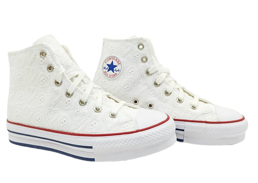 Scarpe bambina Converse all star 671104C sneakers alte platform chuck bianche